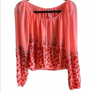 Free People Long Sleeved Embroidered Top Sz M